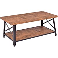 Giantex Wood Coffee Table Side Accent Table Metal Frame Cocktail Table with Rectangle Shelf for Living Room