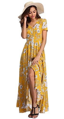 VintageClothing Women's Floral Print Maxi Dresses Boho Button Up Split Beach Party Dress, Yellow&Floral, 2XL