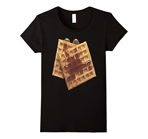 Womens Bacon Dress (Womens Delicious Waffles Costume T-Shirt Bacon Waffle Syrup Butter XL Black)