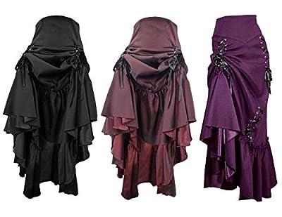 Gothic Long Sateen Corset Skirt. Sizes 6-26