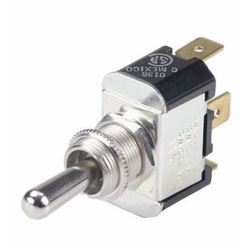 Ancor 555025 Marine Grade Electrical Nickel Plated Brass Toggle Switch (Constant On/Constant Off, Single Pole/Single Throw, Bat with 1/4'' Tab)