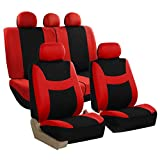 2012 camaro accessories - St. Patrick's Day Sale: FH GROUP FB030115 Light & Breezy Flat Cloth Full set Seat Covers Set Airbag & Split Ready, Red/Black Color- Fit Most Car, Truck, Suv, or Van