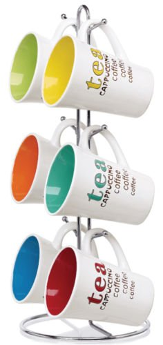Favorite 11oz Mug Tea Coffee Cappuccino Colorful 6 Piece Set Idea In Kitchens for Coffee or Tea (Cat Lovers Monopoly Game)