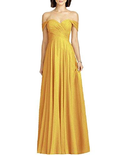 OYISHA Womens Off Shoulder Chiffon Bridesmaid Long Evening Dress Formal BD131 Yellow 16