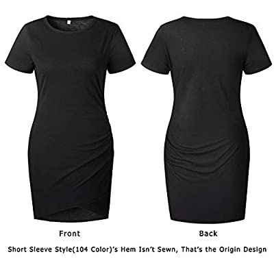 BTFBM Women's 2020 Casual Crew Neck Ruched Stretchy Bodycon T Shirt Short Mini Dress at Women's Clothing store
