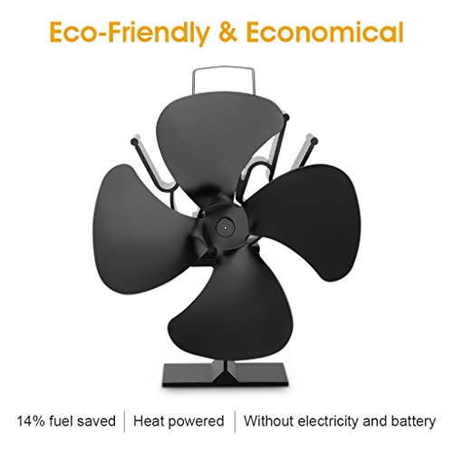 -[ Finether Freestanding 4-Blade Heat powered Eco-Friendly Economical Stove Fan Fireplace Fan, 180