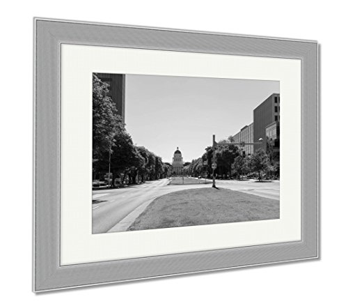 Ashley Framed Prints California State Capitol Building In Sacramento, Contemporary Decoration, Black/White, 26x30 (frame size), Silver Frame, - Mall Downtown Sacramento