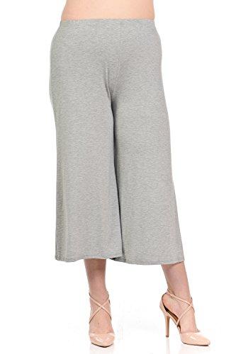 Pastel by Vivienne Women's Wide Leg Crop Culottes Plus Size XXX-Large Heather Grey ()