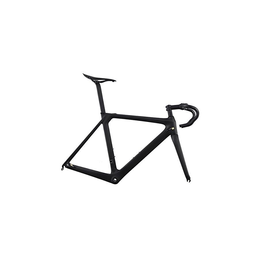 ICAN Aero 700c Carbon Road Bike Frameset with Handlebar Stem Seatpost and Saddle 50/52/54/56/58cm