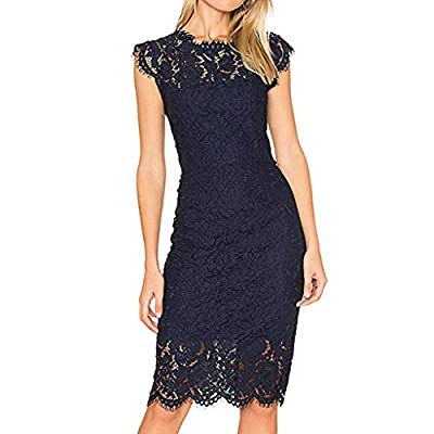 aihihe Women's Sleeveless Lace Floral Elegant Cocktail Dress Crew Neck Knee Length for Party Prom