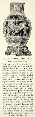 1938 Print Silver Vase Sumerian City King Eagle Symbolism Heraldic Louvre Museum - Relief Line-block Print
