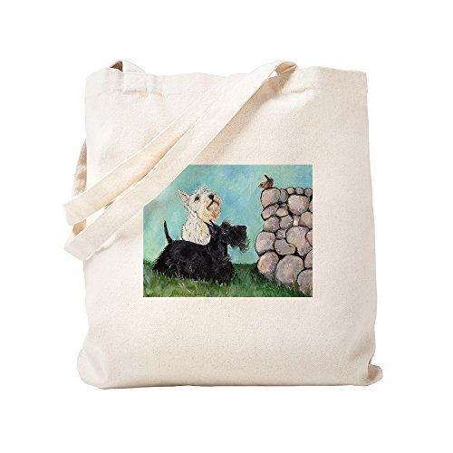 CafePress Scotties And Wren Natural Canvas Tote Bag, Cloth Shopping Bag
