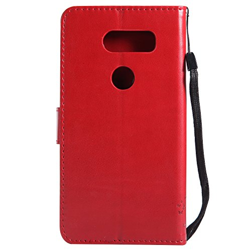 Funda LG V30, SsHhUu Funda PU Piel Genuino [Ranuras para Tarjetas] [Cierre Magnetico] con Lápiz óptico + Acollador para LG V30 H930 H933 H931 H93 US998 LS998U (6.0) Oro Rose Rojo