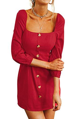 FAFOFA A Line Dress Women Square Neck Button up Puff Long Sleeve Long Tee Shirt Dress Red - Neckline Dress Square