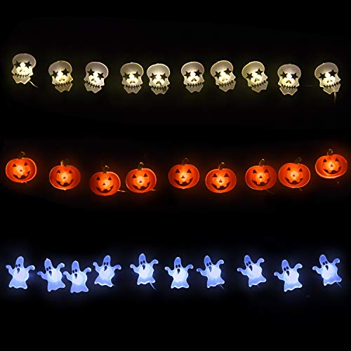 FUN LITTLE TOYS Halloween LED String Lights, Jack O' Lantern, spook & Skull Lights String on Flexible Copper Wire 12.5 ft 36LEDs,Decorative Lights for Indoor/Outdoor Party Decorations ()