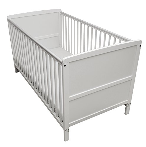 Kinder Valley Solid Pine Wood 2-in-1 Junior Cot Bed, White, 144 x 76 x 80...