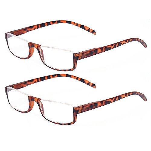 (Reading glasses 2 Pair Half Moon Half Frame Readers Spring Hinge Men and Women Glasses (2 Pack Tortoise, 2.00))