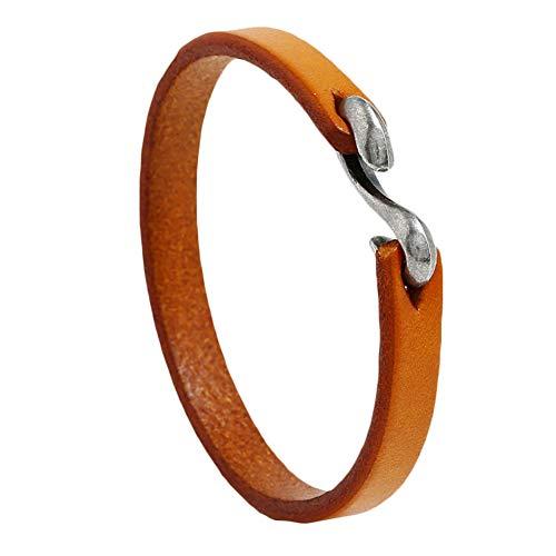 wewa98698 Vintage Thin Cowhide Hook Buckle Bracelet Man Punk Jewelry Wrist Band Bangle Brown