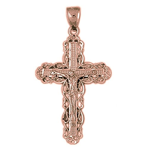 Vine Crucifix - Rose Gold-plated Silver 45mm Vine Crucifix Pendant