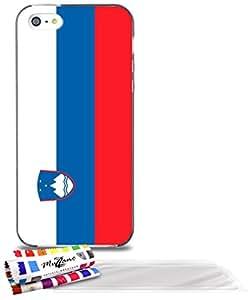 """Carcasa Flexible Ultra-Slim APPLE IPHONE 5 de exclusivo motivo [Bandera Eslovenia] [Gris] de MUZZANO  + 3 Pelliculas de Pantalla """"UltraClear"""" + ESTILETE y PAÑO MUZZANO REGALADOS - La Protección Antigolpes ULTIMA, ELEGANTE Y DURADERA para su APPLE IPHONE 5"""