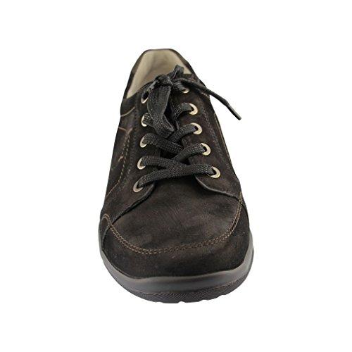Waldläufer sportlicher Schnürer Hesna, Farbe: schwarz schwarz/schiefer Weite H