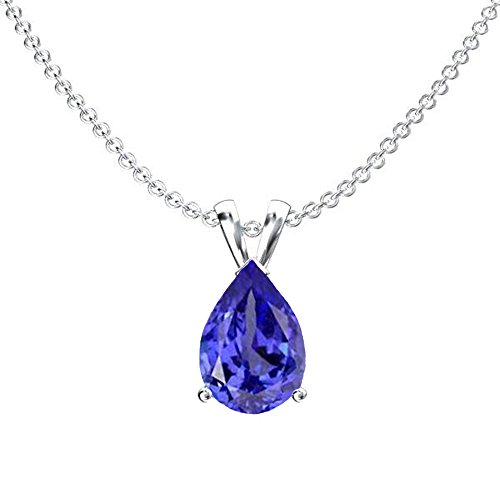 Dazzlingrock Collection 14K White Gold 8x6 mm Pear Cut Tanzanite Ladies Solitaire Pendant (Silver Chain Included) (Tanzanite Pendant)