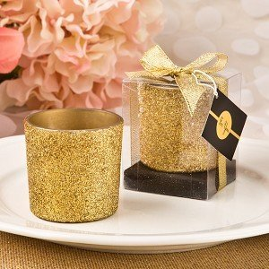 Fashioncraft Bling Collection Gold Glitter Candle Votive ()