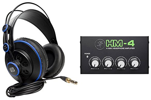 Presonus HD7 Studio Monitoring Headphones+Mackie 4Way Distribution Amplifier Amp
