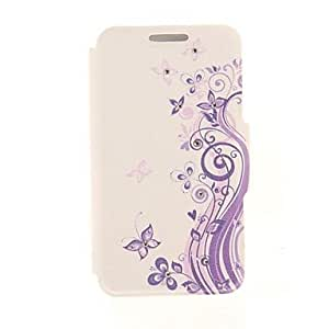 MOM Kinston Purple Butterfly Lace Diamond Paste Pattern PU Leather Full Body Case with Stand for iPhone 5/5S