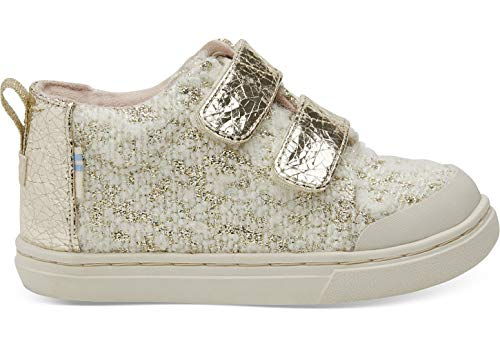 TOMS Kids Baby Girl's Lenny Mid (Infant/Toddler/Little Kid) White Slub Holiday Woven 2 M US Infant