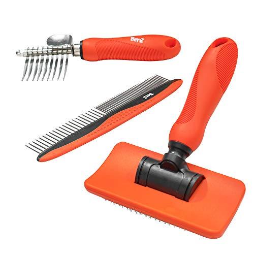 Benz Dog Grooming Tools Kit - Slicker Brush, Dematting Rake Tool & Metal Dog Comb, Pet Grooming Kit, Professional Dog Groom Supplies