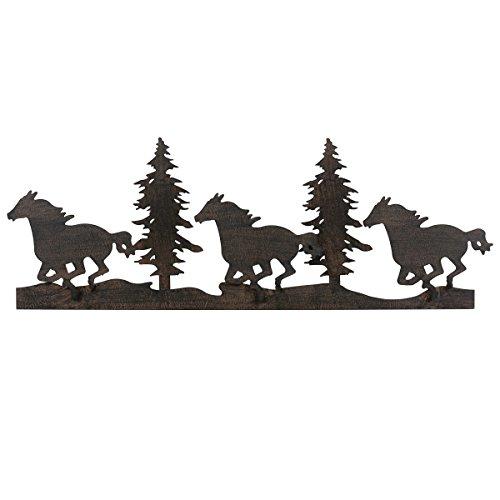 Running Decor Horse (Black Forest Decor Running Horse & Trees Metal Wall Art - CLEARANCE)