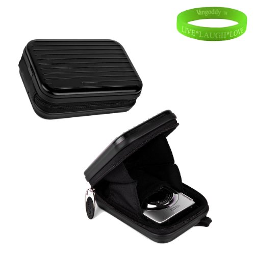 BlackMetal Case with Swivel Carabineer and clip for your Fuji Fine Pix JX 5 Series + Green Vangoddy Bracelet!!!