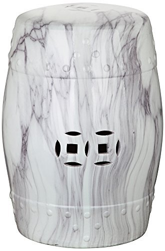 Garden Swirl - Safavieh Castle Gardens Collection Jade Swirl White Glazed Ceramic Garden Stool