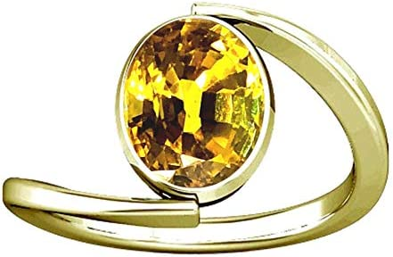 Yellow Sapphire//Pukhraj 10.2cts or 11.25ratti Stone Panchdhatu Adjustable Ring for Men by GEMS HUB