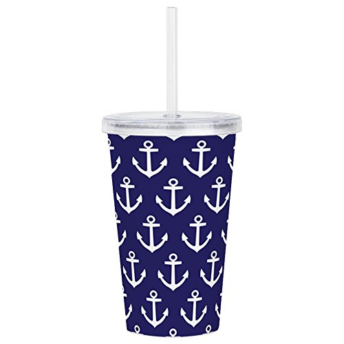 CafePress - Anchor Nautical Navy B - Insulated Straw Cup, 20oz Acrylic Double-Wall Tumbler