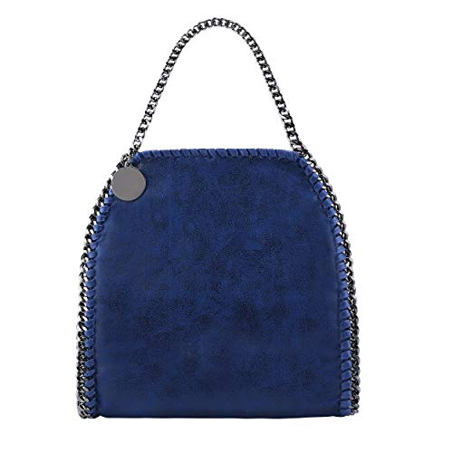 - Women's Tote Bags Metal Chain Top Handle Crossbody Bag Clutch Purse bag Hobo Handbags (Navy Blue)