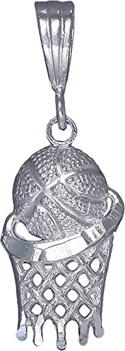 (Sterling Silver Basketball Hoop Charm Pendant Necklace Diamond Cut Finish (Without Chain))