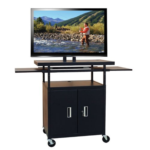 Hamilton Buhl Flat Panel AV Cart with Locking Cabinet Adjustable 34'' to 54'' by Hamilton Buhl