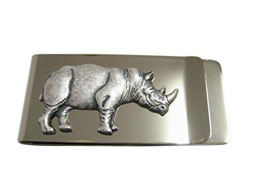 (Kiola Designs Silver Toned Large Rhino Pendant Money Clip)