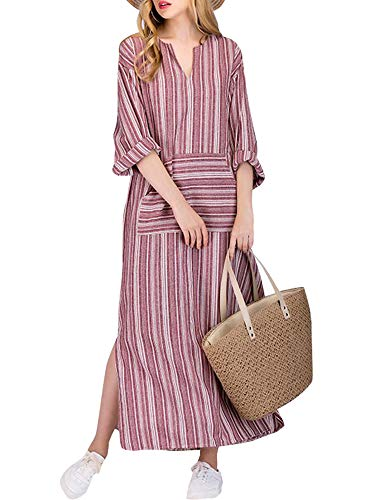 Celmia Women Striped Casual Loose Kaftan Dress V Neck 3/4 Sleeve Split Long Dresses with Pockets Red 2XL (Sleeve Kaftan)