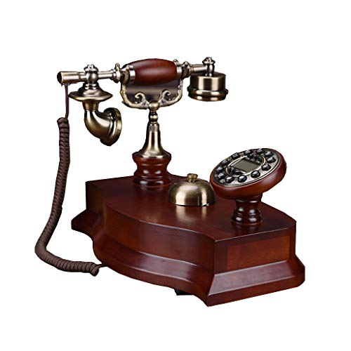 Health UK Telephone- Telephone American Vintage 1970S Inspired Retro Solid Wood Fixed-Line Push-Button Telephone with Classic Metal Bell Ringer - Vintage Button 1970s