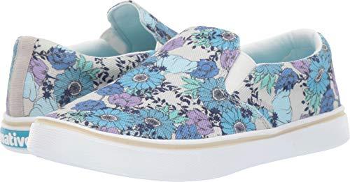 (Native Shoes Unisex Miles Denim Print White Canvas/Shell White/Jardin 7 Women / 5 Men M US)