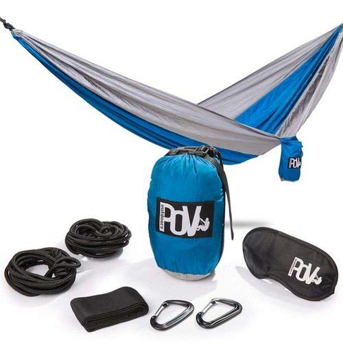 Pov-Outdoors Double Camping Hammock Outdoor And Indoor: Water Resistant Camping Parachute Nylon with 2 Thick Ropes For Tree, 2 Rope Covers, 2 Clips, Carry Bag and Sleep Mask by Pov-Outdoors