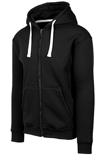 JC DISTRO Plus Size Hipster Hip Hop Basic Heavy Weight Zip-Up Black Hoodie Jacket 3XL