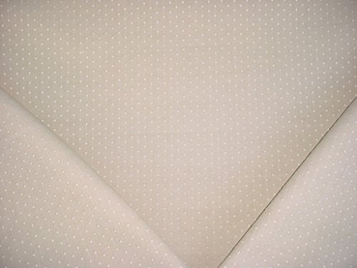 159H8 - Light Beige / White Embroidered Diamond Lined Linen Designer Upholstery Drapery Fabric - By the Yard