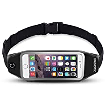 uFashion3C Universal Running Belt Waist Pack with Zipper for iPhone 6, 6S, 6 Plus, 6S Plus, Samsung Galaxy S5, S6, S7, Edge, Note 3, 4, 5, LG G3 G4 G5 with OtterBox/ LifeProof Waterproof Case (Black)