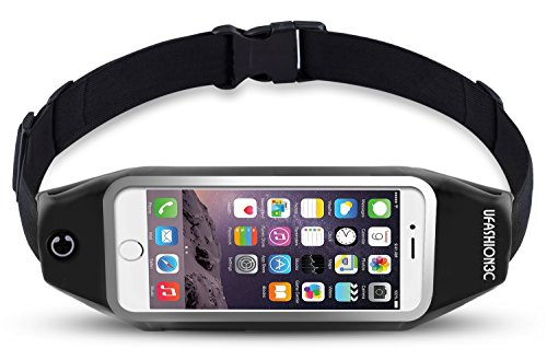 uFashion3C Running Belt Waist Pack for Phone, fits iPhone Xs Max XS X 8 7 6S 6 Plus, Galaxy S9 S8 Plus,S7 Edge, Note 9, 8, 5 – Water Resistant Reflective Fitness Workout Fanny Pack for Men and Women