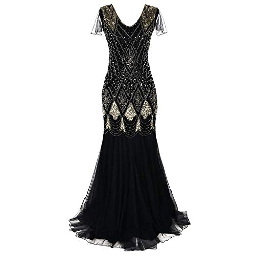 - Palarn Fashion Clothes, Women Vintage 1920s Bead Fringe Sequin Lace Party Flapper Cocktail Prom Dress Gold