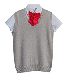 Women\'s Japanese School Uniform V-neck Knit Cardigan Set (M, light gray)
